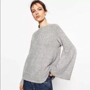 Zara bell sleeve gray top